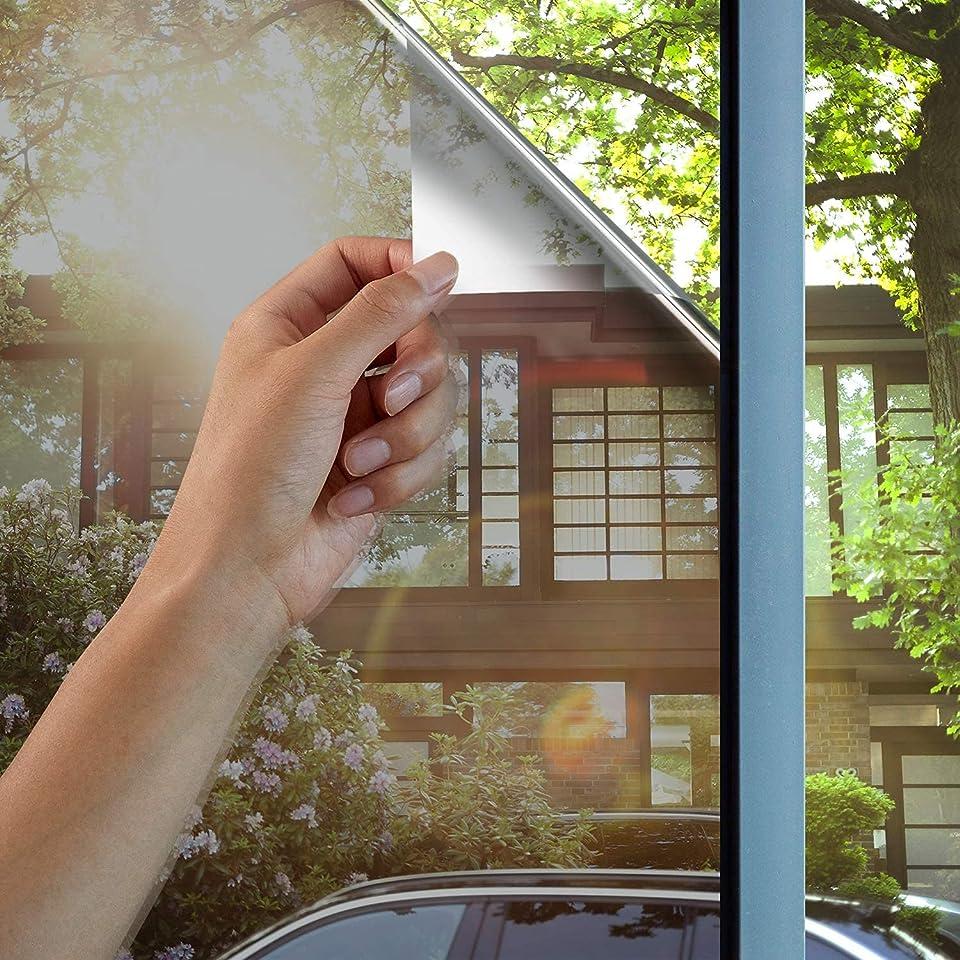 Modrad Spiegelfolie Selbstklebend Sichtschutz Folie Reflektierende Fensterfolie Sonnenschutzfolie für Wärmeisolierung UV-Schutz und Sichtschutz Silber (90X400)