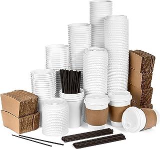 أكواب قهوة متوسطة الحجم للاستعمال مرة واحدة مع أغطية - 120 قطعة - أكواب قهوة ورقية 354.88 مل - أكواب بيضاء اللون، أغطية قه...