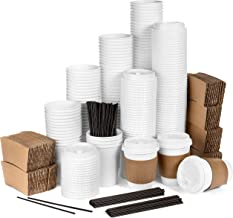 Average Joe Disposable Coffee Cups with Lids - 120 Pack - 12 Oz Paper Coffee Cups, Lids, Sleeves and Stirrers - White To G...