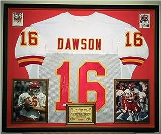 Premium Framed Len Dawson Autographed/Signed Kansas City Chiefs Jersey - JSA COA