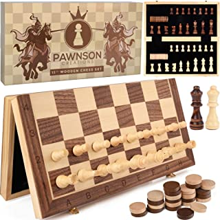 """Magnetic Wooden Chess Checkers Set for Kids and Adults – 15"""" Staunton Chess Set - Travel Portable Folding Chess Board Game..."""