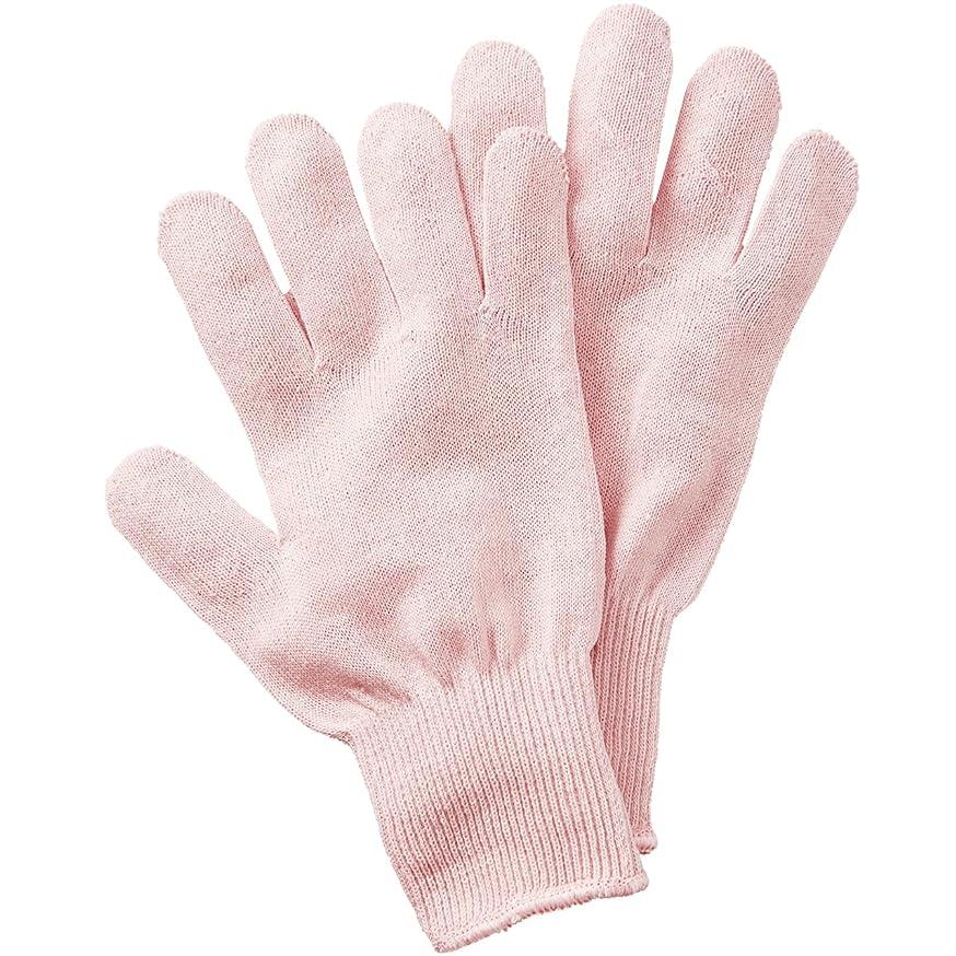 同化海洋見通しセルヴァン シルク混おやすみ手袋 ピンク