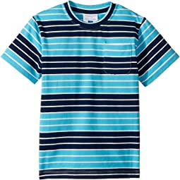 Navy Aqua Stripe Pocket Tee (Toddler/Little Kids/Big Kids)