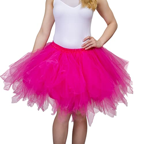 LADIES NEON TUTU SKIRT BLACK FUCHSIA FITS MOST SIZES UP TO SIZE 18 4 LAYERS