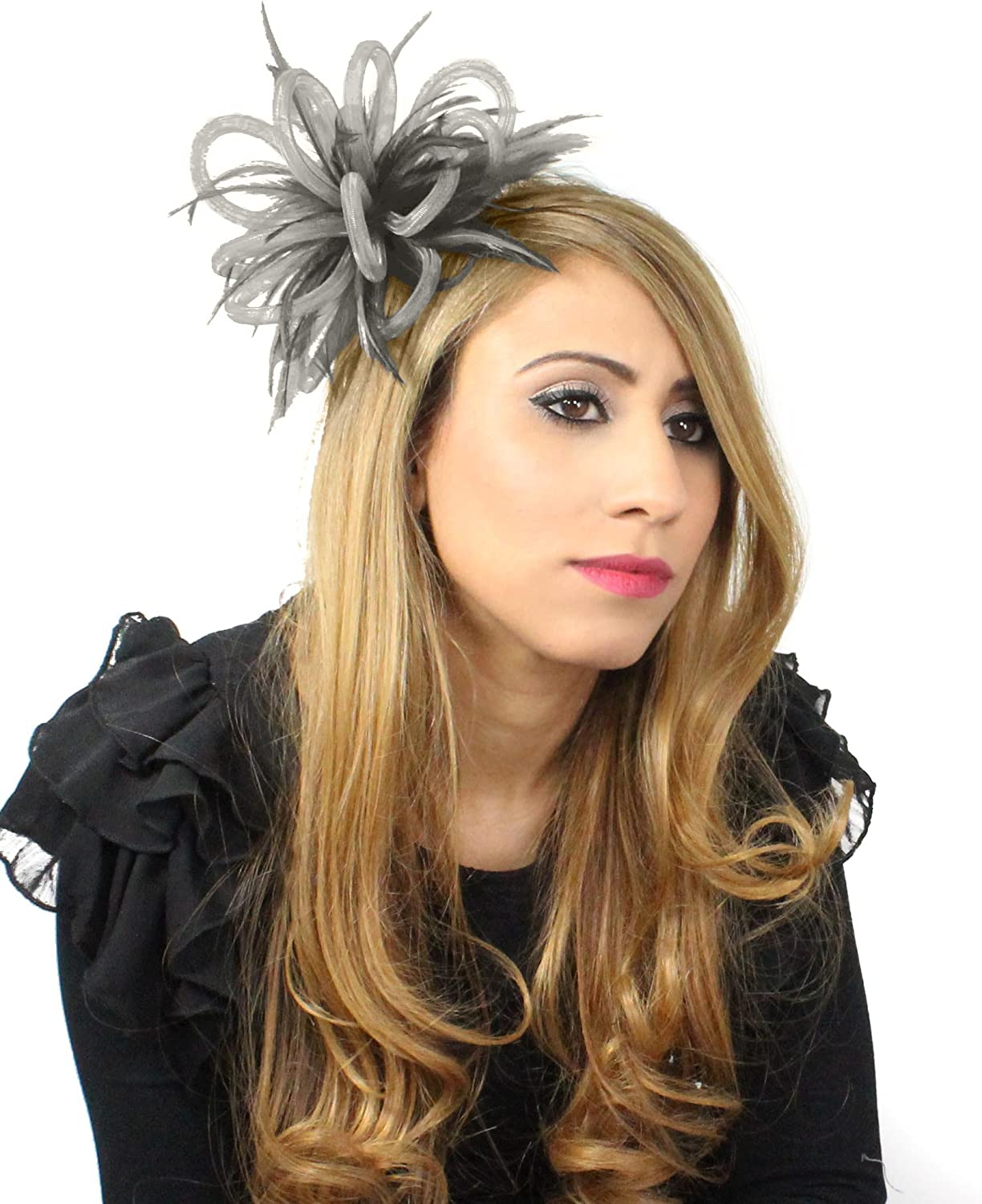 Hats By Cressida Mini CRIN Feather Fascinator  Grey