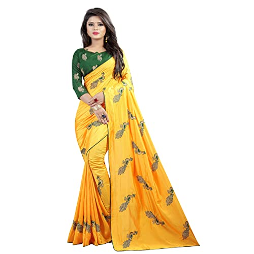 a7003e0685 Shiroya Brothers Women's Silk Embroidered Saree with Blouse Piece  (Peacock_Multicolour)