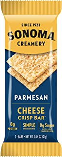 Sonoma Creamery Cheese Crisp Bars - Parmesan 8 Two-Bar Packs (Savory Snack Bars with 0g Sugar & 8g Protein Low Carb Gluten Free)