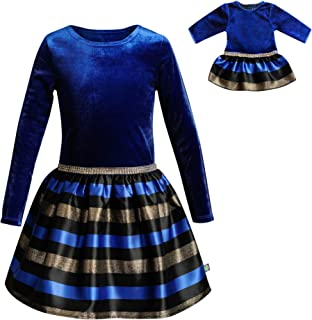 Dollie & Me Girls' Velvet Printed Matching Doll Dress