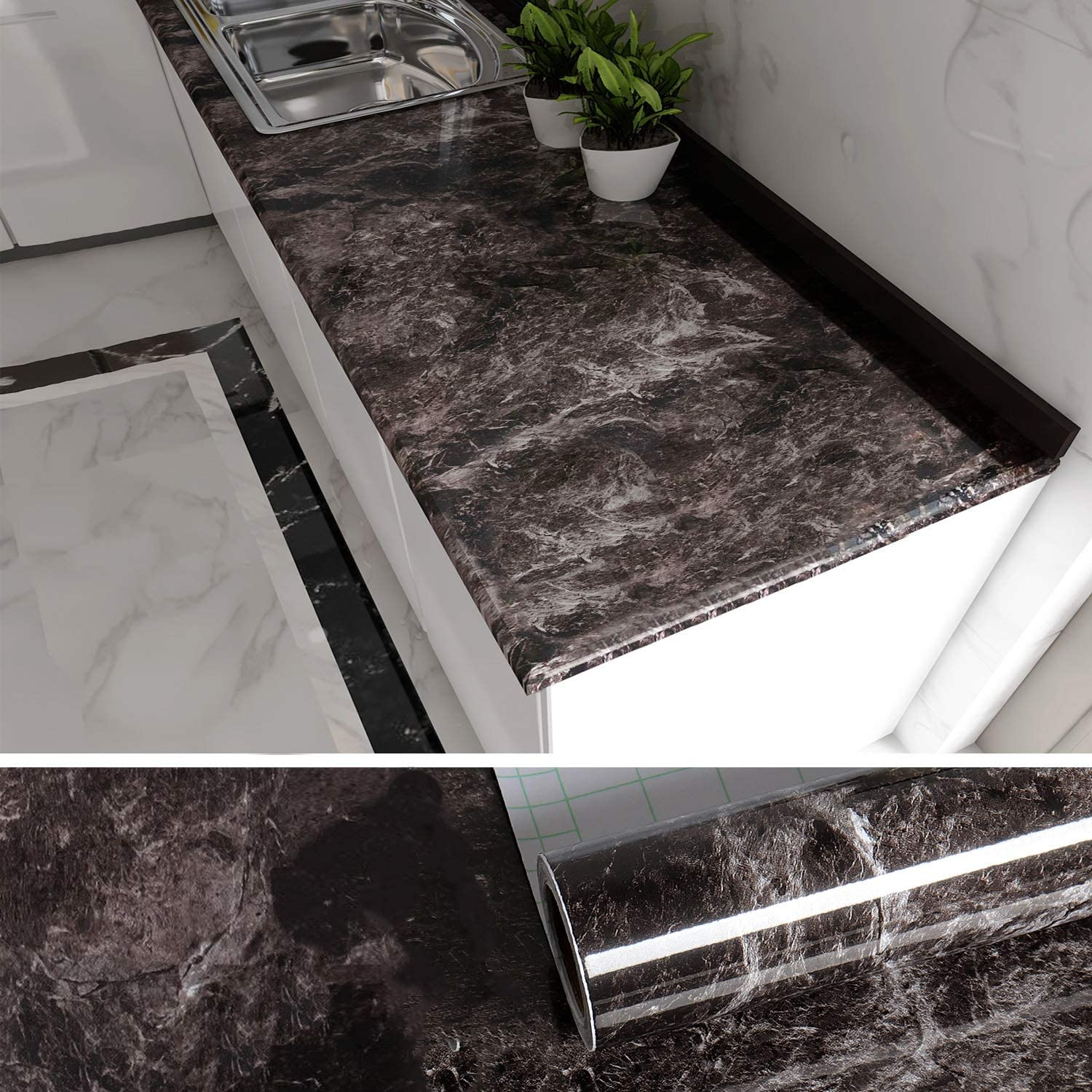 Amazon Com Veelike Black Marble Contact Paper For Countertops Brwon Peel And Stick Countertops For Kitchen Cabinets Removable Wallpaper Counter Top Covers Peel And Stick Wall Paper For Home Decor 354 X15 7 Home Improvement