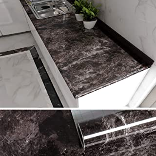 VEELIKE Marble Contact Paper for Countertops Brwon Peel and Stick Countertops for Kitchen Cabinets Removable Wallpaper Cou...