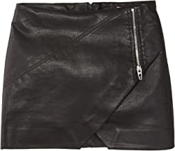 Vegan Leather Skirt with Zipper Detail (Big Kids)