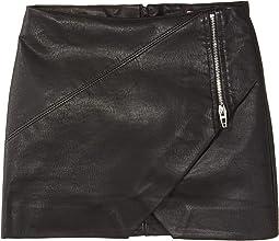 Vegan Leather Skirt with Zipper Detail (Big Kids)