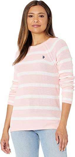 USPA Stripe Rib Sweater