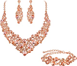 Women's Austrian Crystal Wedding Luxury Floral Filigree Necklace Earrings Set Silver-Tone