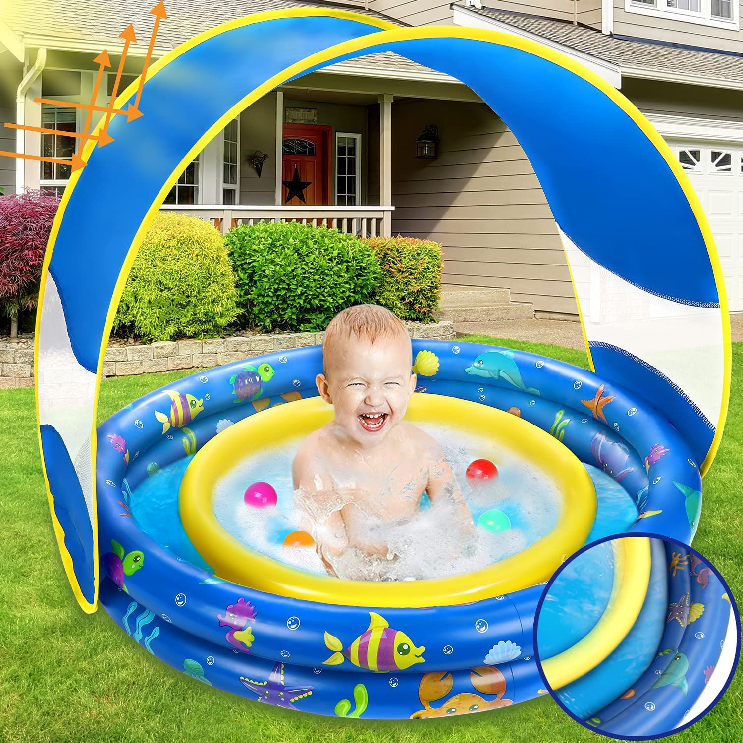 Inflatable San Antonio Mall Max 76% OFF Baby Pool Annular Sunshad Kiddie Removable with