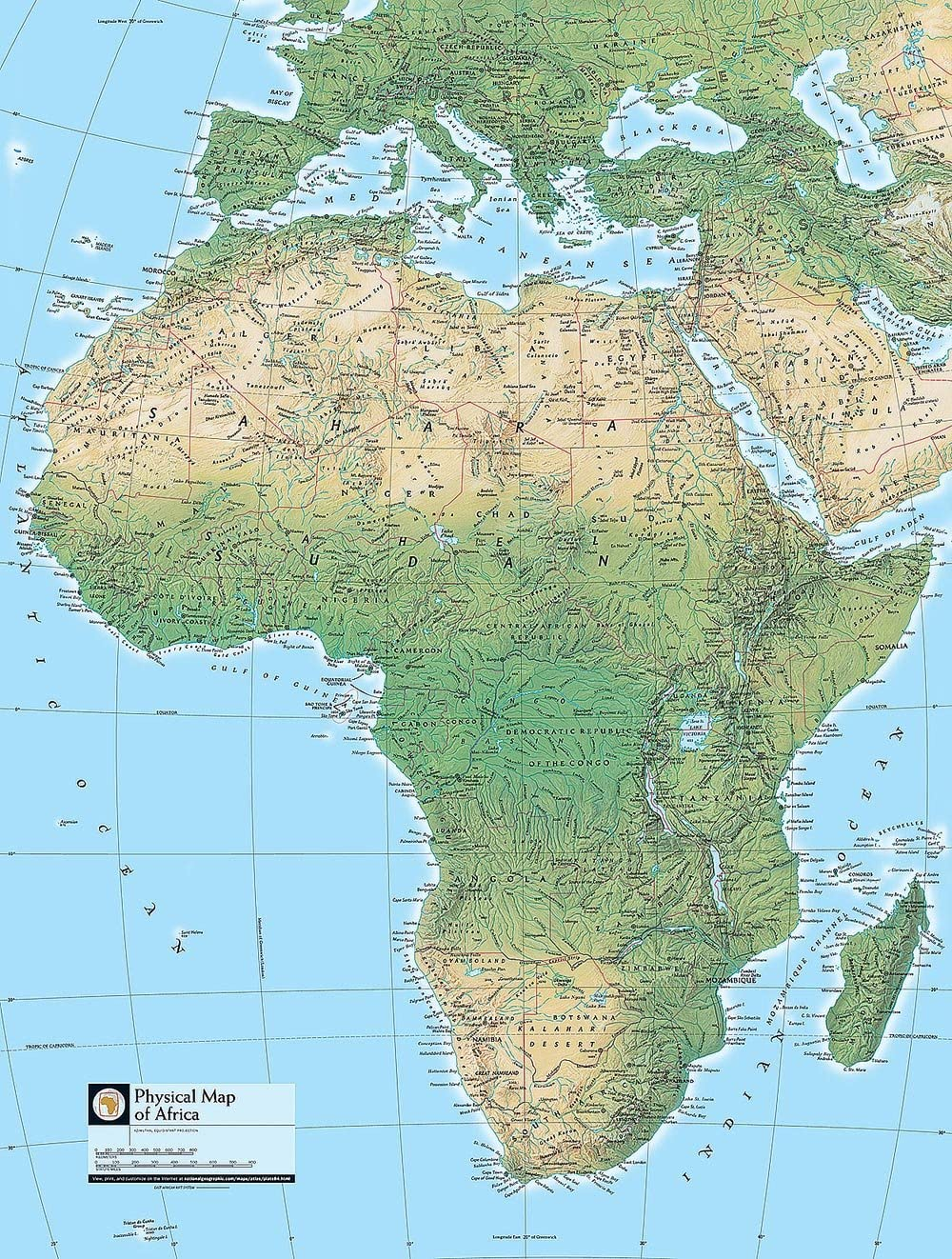 Geographic Map Of Africa Physical Map of Africa Wallpaper Wall Mural   Self Adhesive