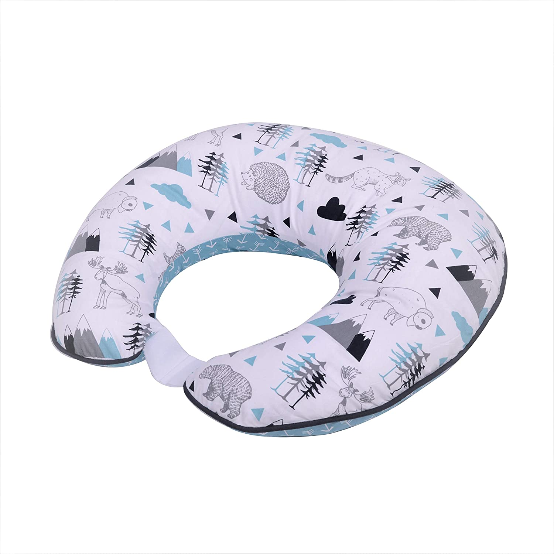 Bacati Woodlands Boys Cotton Nursing Pillow, Aqua/Navy/Grey