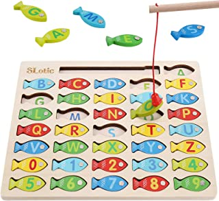 Slotic Magnetic Wooden Fishing Game Toy for Toddlers - Alphabet ABC Fish Catching Counting Learning Education Math Prescho...