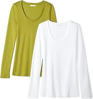 Amazon Brand - Daily Ritual Women's Midweight 100% Supima Cotton Rib Knit Long-Sleeve Scoop Neck T-Shirt, 2-Pack