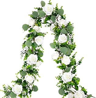 CEWOR Artificial Eucalyptus Garland with Rose Flowers Faux Greenery Hanging Vines for Wedding AnniversaryParty Table Cerem...