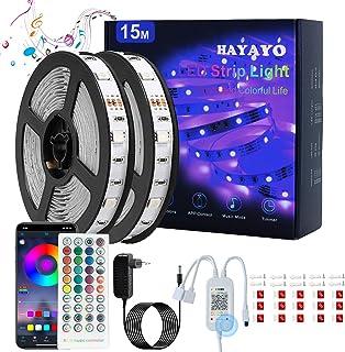 HAYAYO LED Ruban, Bande LED 15m 5050 SMD Avec Télécommande, Bluetooth APP Contrôle éClairage de Ruban LED RGB, LED Chambre...