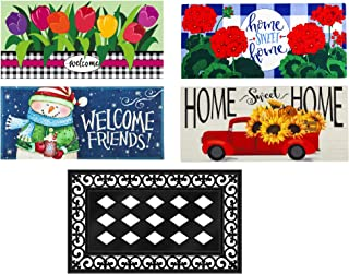 Evergreen Flag Seasonal Interchangeable Sassafras 4 Seasons Set of 5 Rustic Farmhouse Doormats for Holidays and Year Round...