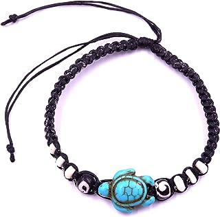 VINTAGE Bohème bracelet turquoise tortue Réglable Tressé Corde Bracelet Jo