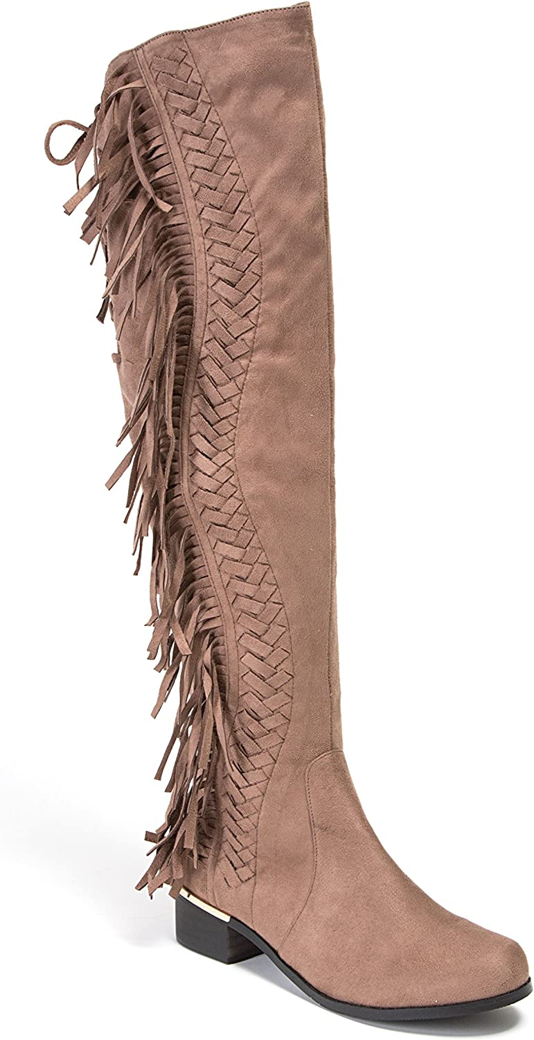 Lady Couture Mircosuede Fringe Women's Knee Length Boots by Fringe