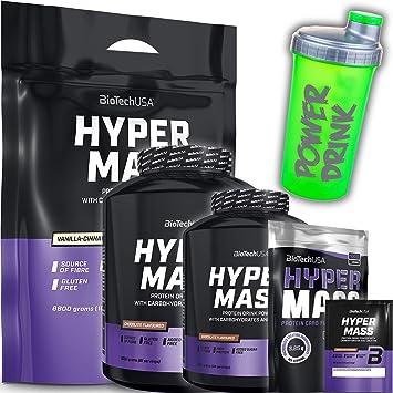 Biotech USA Hyper Mass 2270 g Lata de Chocolate - Hidratos de carbono, proteínas y ácidos grasos esenciales + coctelera CPSports de 700 ml