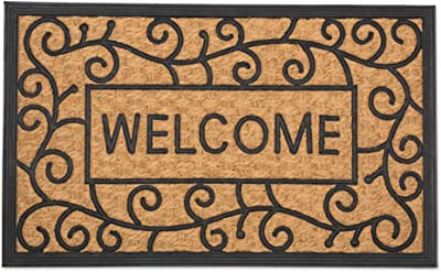 DII Heavy Duty All Weather Natural Coir and Tuffridge PVC Doormat, 18x30, Welcome Swirls