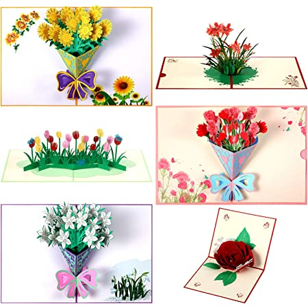 Details about  /3D Pop-Up Flower Floral Greeting Card for Birthday Mothers Father/'s Day Wedding