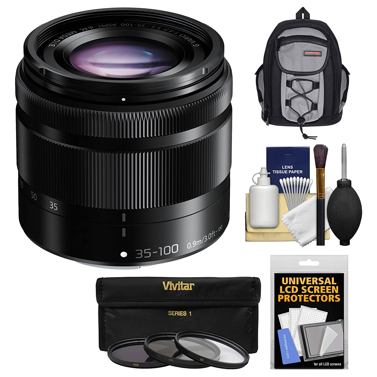 Panasonic Lumix G Vario 35-100mm f/4.0-5.6 OIS Zoom Lens with Case + 3 UV/CPL/ND8 Filters Kit for G6, GF6, GF7, GH3, GH4, GM1, GM5, GX7 Cameras