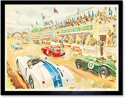 Wee Blue Coo Paintings Sport Motor Le Mans 24 Hour Race Car Speed Rain Unframed Wall Art Print Poster Home Decor Premium