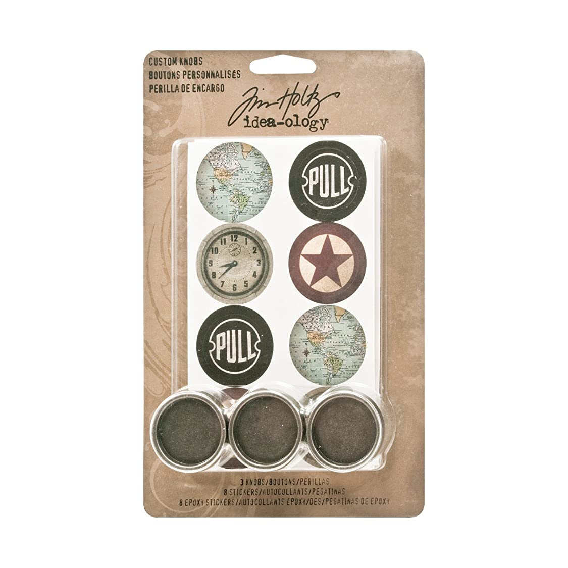 Metal Custom Knobs with Stickers by Tim Holtz Idea-ology, 3 per Pack, 1-1/4 Inch, 16 Stickers, Assorted Colors, TH93124 ew55680603625345