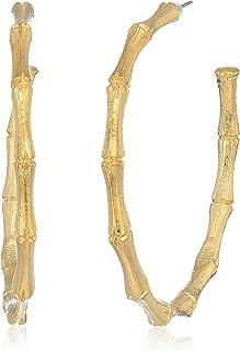 Women's Large Gold Bamboo Hoop Earrings