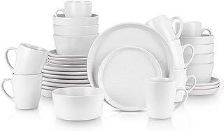 مجموعة أدوات المائدة المستديرة من ستون لين 32 قطعة، خدمة لـ 8، أبيض منقط