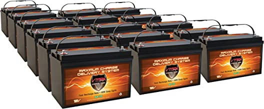 Vmaxtanks VMAXSLR125-16 AGM deep cycle 12V 2000AH battery for Use with PV Solar Panel wind turbine gas or electric power backup generator or smart charger for off grid sump pump lift winch pallet jack and any other heavy duty application