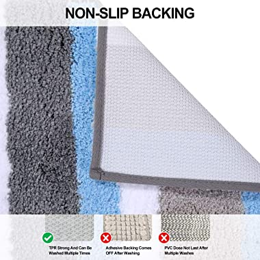 Buganda Microfiber Stripe Bathroom Rugs, Shaggy Soft, Absorbent, Machine Washable, Non-Slip Bath Mat and Bath Rugs for Bathro