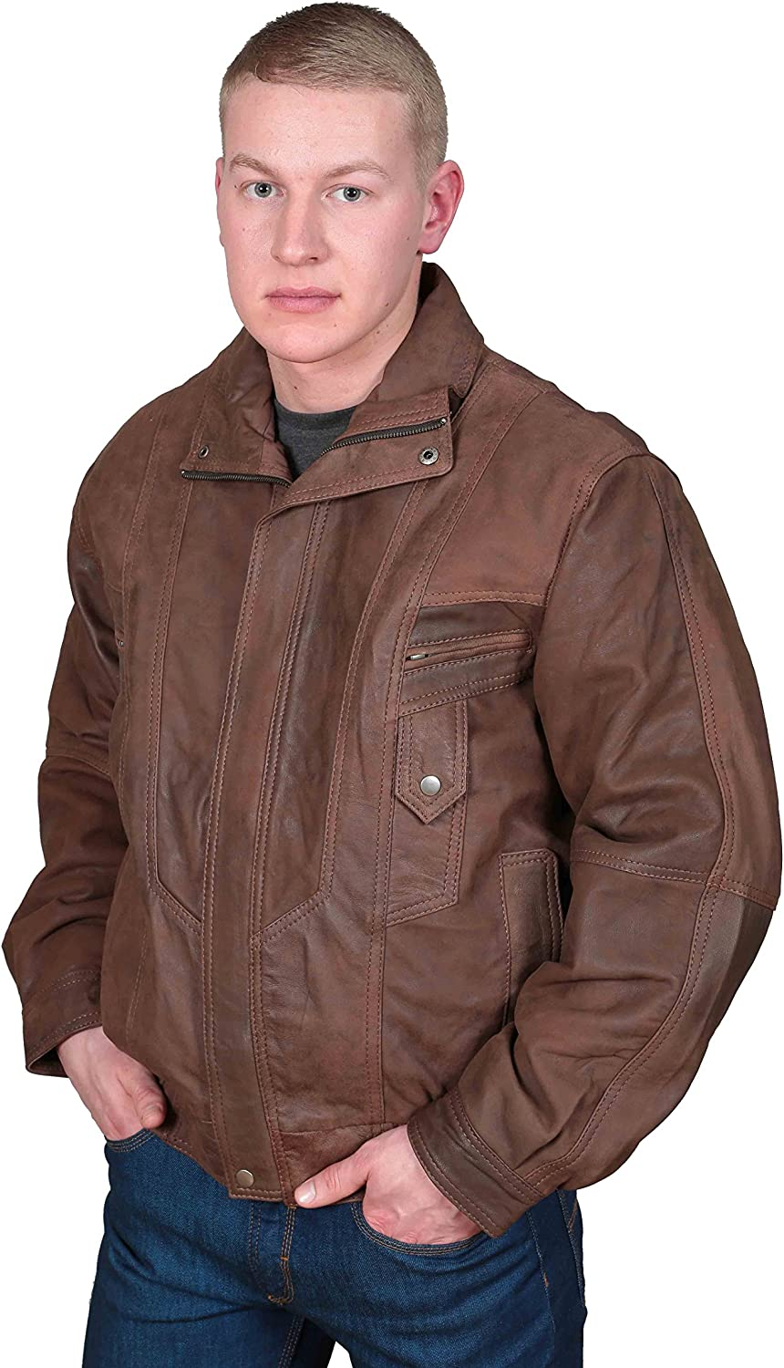 Mens Classic Blouson Leather Jacket Alan Brown Gents Bomber Style Leather Jacket