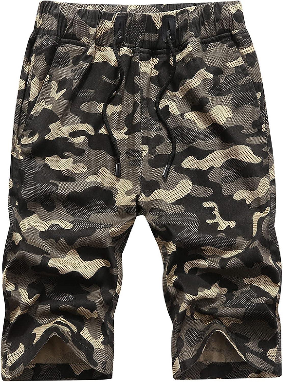 Wantess Men's Shorts Fashion Camouflage Printed Mesh Breathable Casual Drawstring