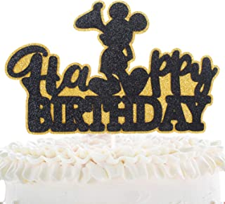 Mickey Happy Birthaday Cake Topper - Celebrate Baby Shower Kids Boys Birthday Party Décor - Adorable Disney Black Glitter Mouse Decoration
