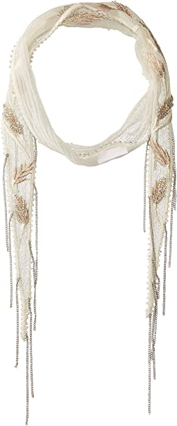 Chan Luu - Chiffon Floral Embroidered Short Skinny Scarf