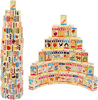 Hartop 100 PCS New Chinese English Language Learning Wooden Building Blocks Domino Educational Product, Recognize Identify...