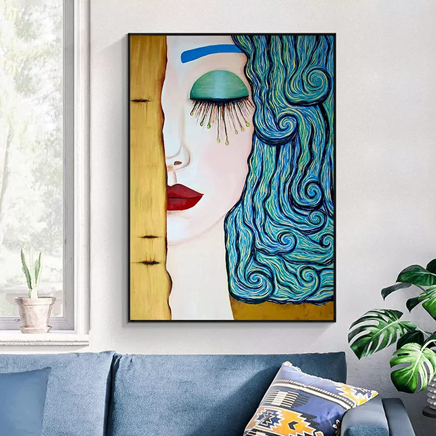 FOMBV Wall Art Canvas Decorative Blue Wa Eyelashes Large discharge sale Painting Hair All items free shipping