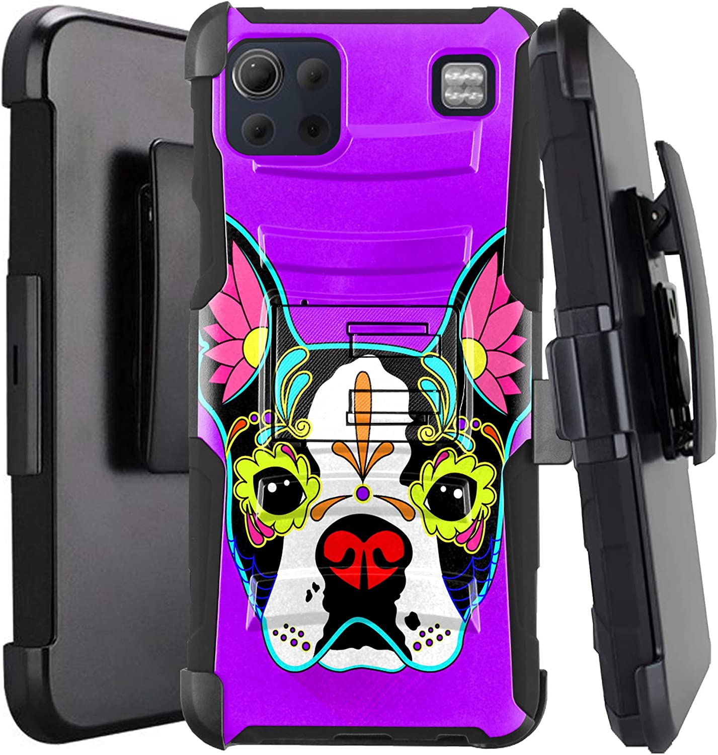DALUX Hybrid Kickstand Holster Phone Case Compatible with LG K92 5G (2020) - Purple Sugar Boston Terrier
