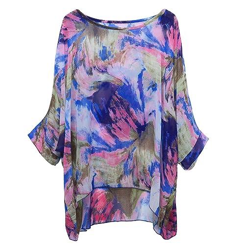 09ae362c5a36ba OUKIN Women Bohemian Floral Batwing Sleeve Plus Sheer Chiffon Oversize  Loose Off Shoulder Blouse Tunic Tops