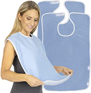 Vive Adult Bibs (2 Pack) - Waterproof Apron Set for Men, Women for Eating with Adjustable Strap - Washable Reusable Large Terry Cloth for Elderly, Seniors and Disabled - Extra Long Clothing Protector