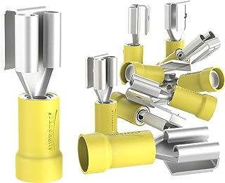 AUPROTEC 10x Flachsteckhülsen mit Abzweig 4 6 mm² gelb Teilisoliert PVC weibliche Doppelflachsteckhülse PBDD Kabel Verbinder aus Messing verzinnt