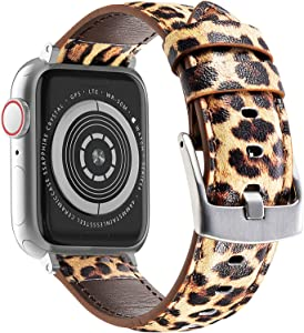 Genuine Leather Bands Compatible with Apple Watch Band 42mm 44mm 45mm, Watch Wristband Strap for iWatch SE Series 7/6/5/4/3/2/1 (Leopard, 42mm/44mm/45mm)