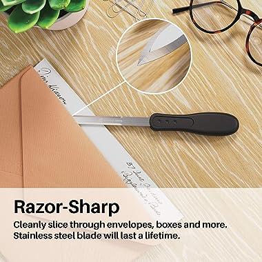 Uncommon Desks Office Letter Opener - Single-Pack, Stainless Steel Blade, Ergonomic Grip Handle (Black, 1 Pieces)